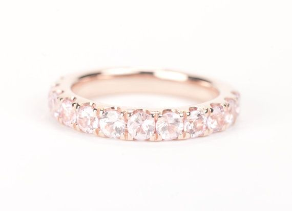 CERTIFIED 3.5 mm Light Pink Sapphire 14K Rose Gold by SundariGems
