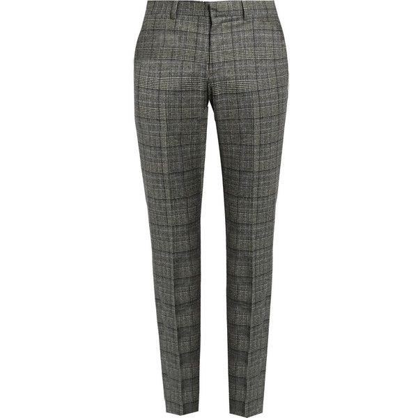 Gucci Mid-rise tartan wool trousers ($635) ❤ liked on Polyvore featuring men's fashion, men's clothing, men's pants, men's casual pants, grey multi, gucci mens pants, mens tartan pants, mens plaid pants, mens slim pants and mens tartan plaid pants
