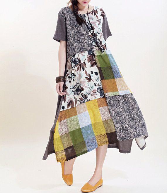 Women long sundress Linen stitching Long short sleeved by MaLieb, $96.00