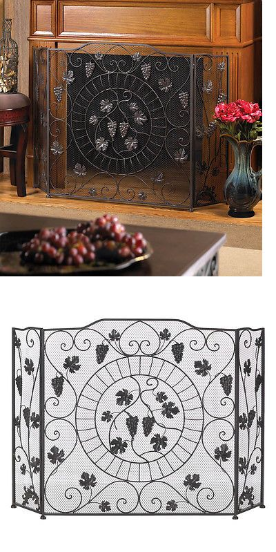 Fireplace Screens and Doors 38221: Black Wrought Iron Vineyard Estate Fireplace Screen Beautiful Tuscan Charm -> BUY IT NOW ONLY: $71.47 on eBay!