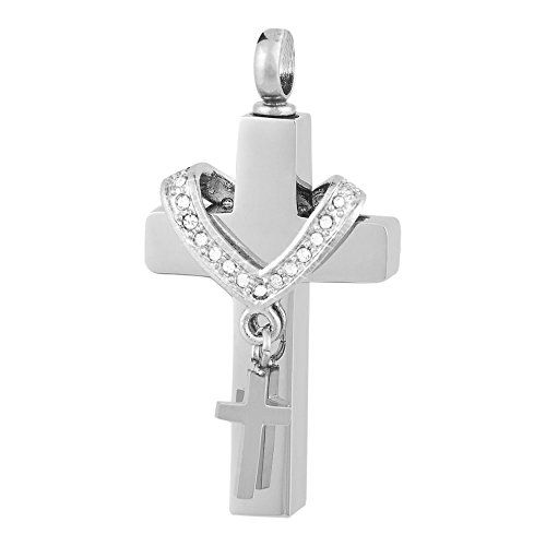 """Perfect Memorials Collet Cross Stainless Steel Cremation Jewelry. Stainless Steel. Holds Small Amount of Dried Flowers, Burial Soil, Locks of Hair & Cremains. Outside Size: 15/16"""" W x 1-3/4"""" H x 3/8"""" D. 20"""" Black Satin Cord & Presentation Box Included. The Cremation Pendant Closes Securely With A Threaded Screw."""