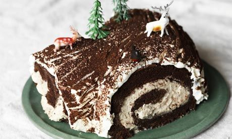 Mary Berry's Bûche de Noël. Photograph: Jason Lowe for the Observer Food Monthly