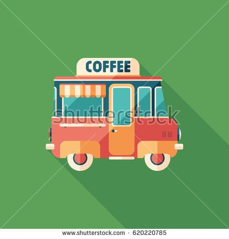 Coffee van flat square icon with long shadows. #coffeeicons #summericons #flaticons #vectoricons #flatdesign