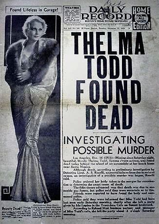 Death in Hollywood – The Mystery of Thelma Todd http://www.onwednesdays.net/death-in-hollywood-the-mystery-of-thelma-todd/
