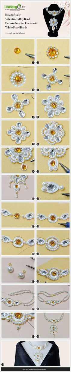 Tutorial for Valentine's Day Bead Embroidery Necklaces with White Pearl Beads from LC.Pandahall.com