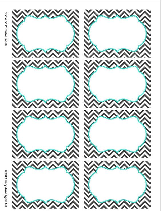 Turquoise Chevron Labels Print your own by TracyAnnDigitalArt
