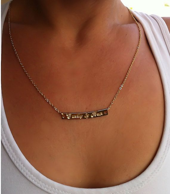 Personalized Gold Bar Necklace, Name Plate Necklace ...