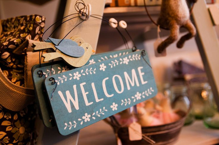 handcrafted welcome sign