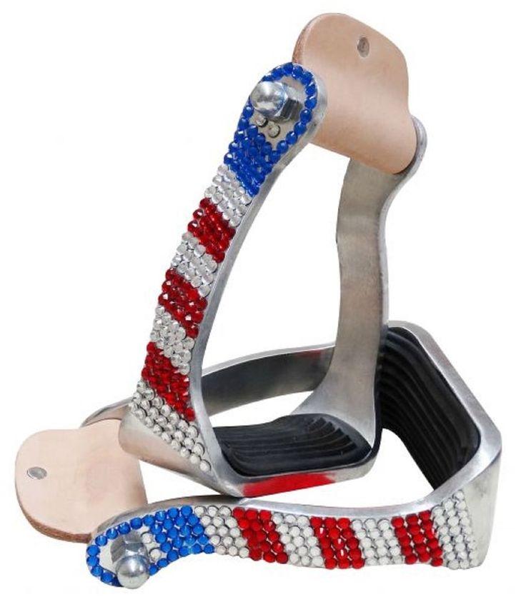 Patriotic BLING Aluminum Western Saddle Pair Stirrups New Horse Tack    eBay