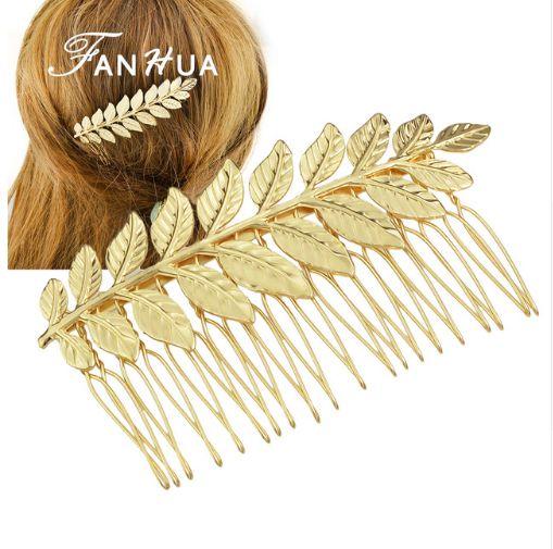 Κομψή Νυφική Χτένα Μαλλιών σε Χρυσαφί Χρώμα και Σχέδιο Ελιά - www.memoirs.gr