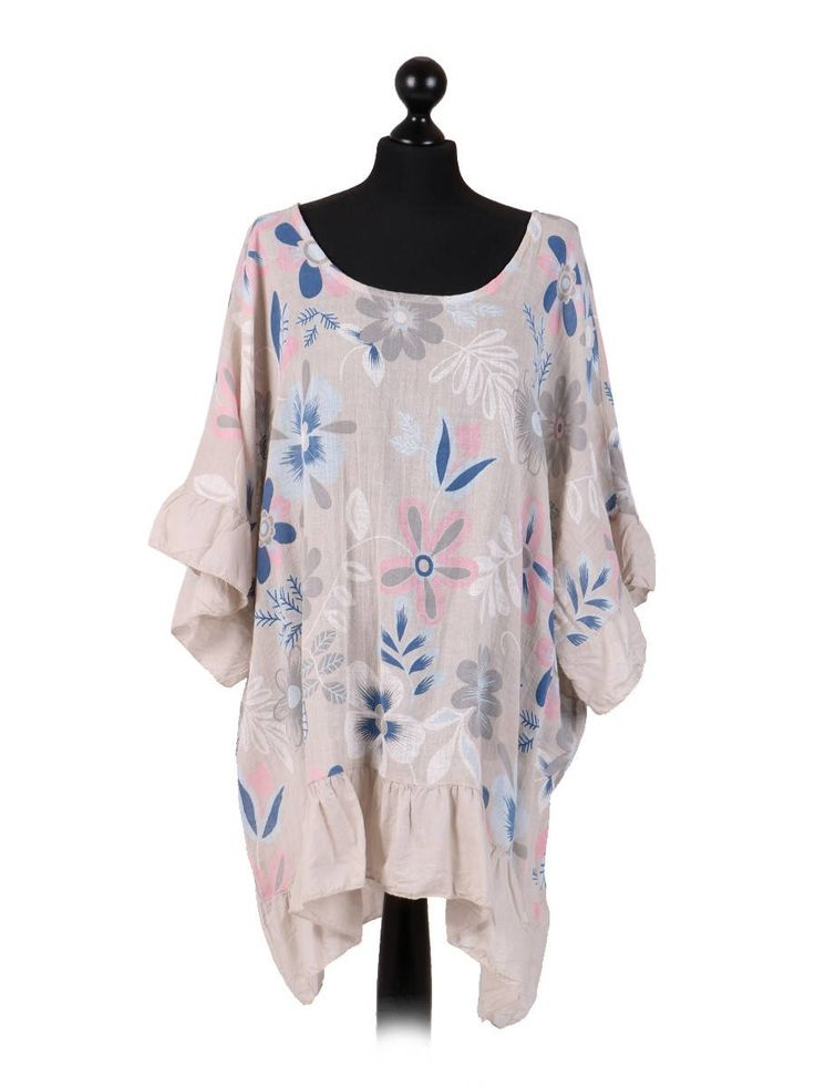 SALE!! Italian Floral Batwing Top with Hem and Sleeve Detail- One Size - Plus Size  - Beige-1914 di LavishStrings su Etsy https://www.etsy.com/it/listing/538058130/sale-italian-floral-batwing-top-with-hem