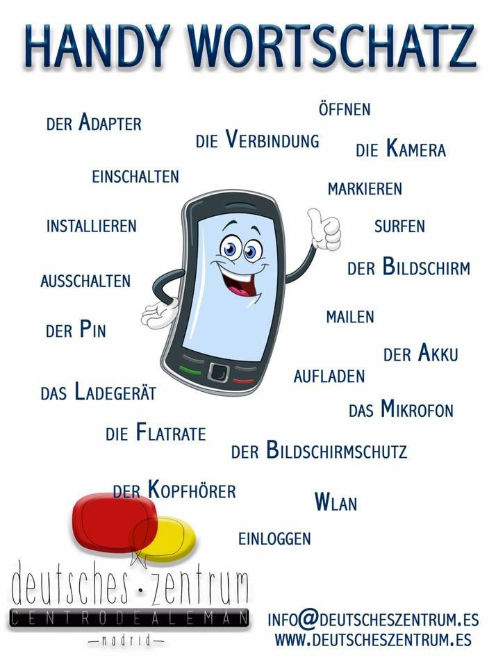 Handy Deutsch Wortschatz. Vocabulario del móvil en alemán #deutschlernen