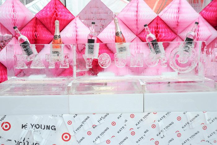 At the launch of the Kate Young for Target collection, held at St. Patrick's Old Cathedral school in SoHo in April 2013, Okamoto Studio etched the designer's name in playful block letters, which held lopsided bottles. Photo: Courtesy of BFA NYC
