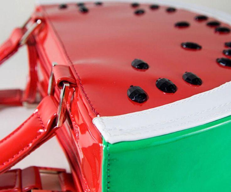 New Interesting European Pattern Tote Women Semicircle Watermelon Bag PU Shoulder Bag Fruit Shape Red Ladies Handbags BS467