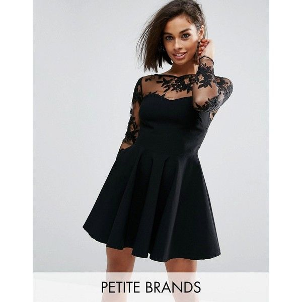 City Goddess Petite Skater Dress With Embroidered Sleeves ($58) ❤ liked on Polyvore featuring dresses, black, petite, sleeved dresses, fit and flare skater dress, petite skater dress, mesh skater dress and sweetheart neckline dress