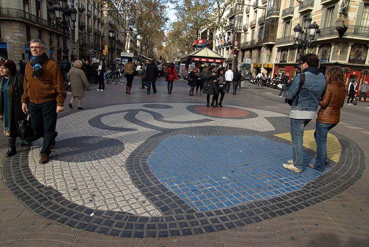 Juan Miro Mosaic on the La Ramblas walk in Barcelona
