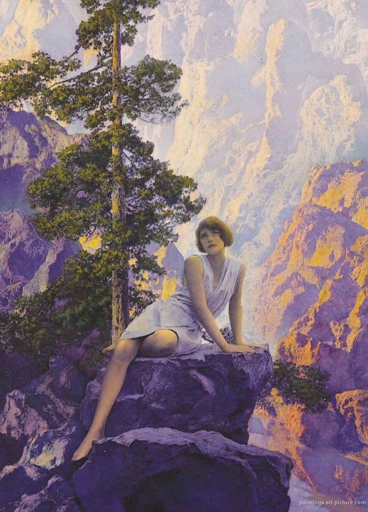 Solitude (c1932). Maxfield Parrish (Estado Unidos, 1870-1966) // Estudió en la Academia de Bellas Artes de Pennsylvania. Su obra se caracteriza por sus imágenes idealizadas y luminosos colores.