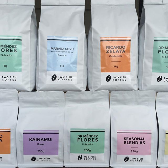 Two Fish Coffee | coffee packaging | white stand up pouch with custom label | curated by Copious Bags™