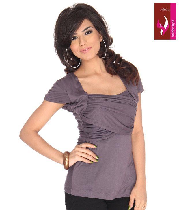 40% Off on Athena Dusky Purple Pleated Top