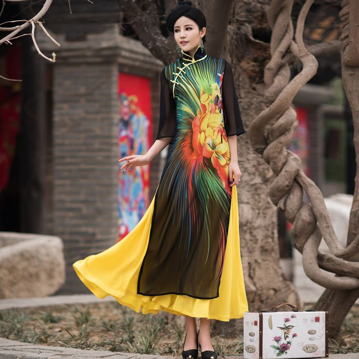 Купить товарВьетнам aodai изящные стенд воротник халаты элегантный дизайн цветок мода высокое качество шифон большие качели улучшенная длинные чонсам в категории Китайские женские халатына AliExpress.             Размер диаграммы                            Размер                  Длина платья                  Ширина пле