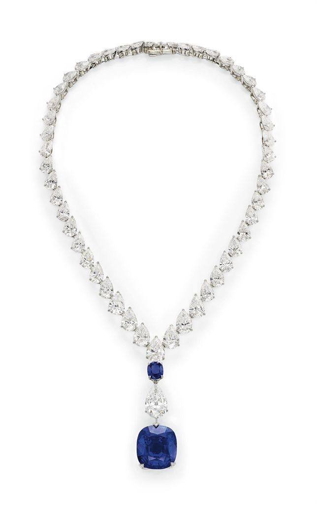 A Magnificent Sapphire and Diamond Necklace, by Cartier #sapphire #diamond #necklace