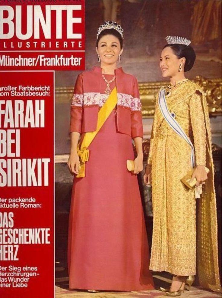 """Queen of Thailand : Her Majesty Queen Sirikit  สมเด็จพระนางเจ้าสิริกิติ์พระบรมราชินีนาถ ภาพจากปกนิตยสาร  เยอรมัน BUNTE  ILLUSTRIERTE Münchner  Nr. 7  14 FEB 1968 ; ๑๔ กุมภาพันธ์ ๒๕๑๑ """"FARAN BEI SIRIKIT""""งานเลี้ยงพระกายาหารค่ำ ณ พระบรมมหาราชวัง ในโอกาสที่สมเด็จพระจักรพรรดิ Mohammad Reza Pahlavi และสมเด็จพระราชินี Farah Pahlavi แห่งIran เสด็จฯ เยือนประเทศไทย ระหว่างวันที่ ๒๒-๒๙ มกราคม ๒๕๑๑"""