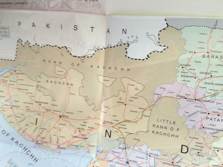 "The large expanse of Rann of Kutch. Rann derives from the Sanskrit word ""Irin"" meaning salt."