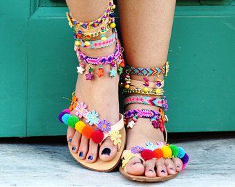 SALE 50% OFF Pom Pom 'Rainbow' Festival Sandals (handmade to order)