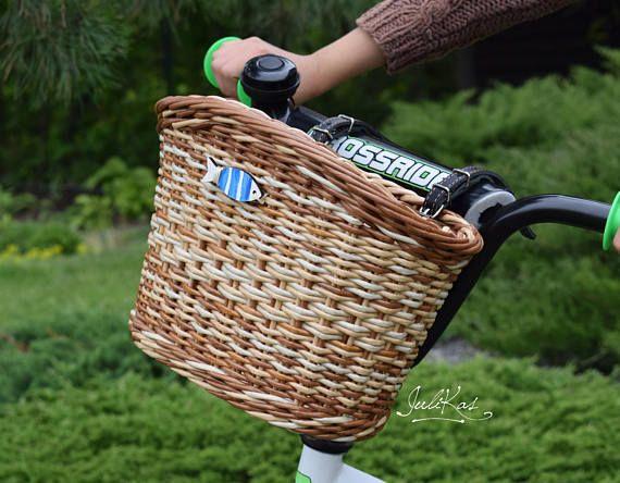 Bicycle basket children BLUE FISH  Kids bike basket brown