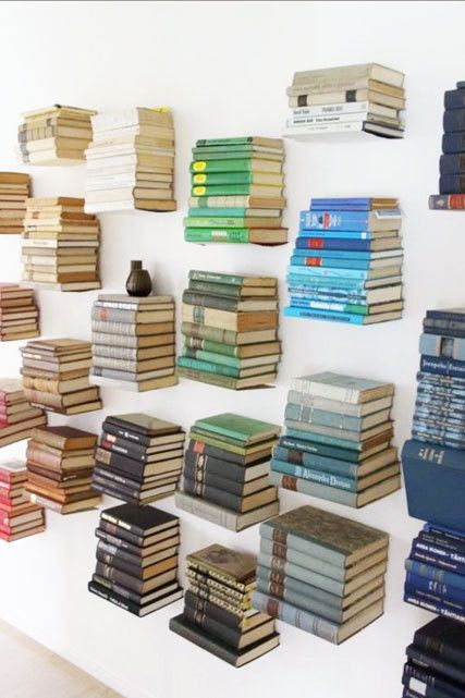 With a little strategic securing, you can make a unique table entirely out of books.