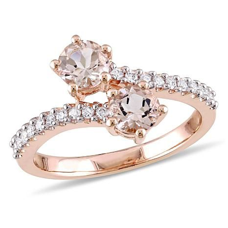 1.16ctw Morganite and Diamond 10K Rose Gold Bypass Ring - 8351586 | HSN