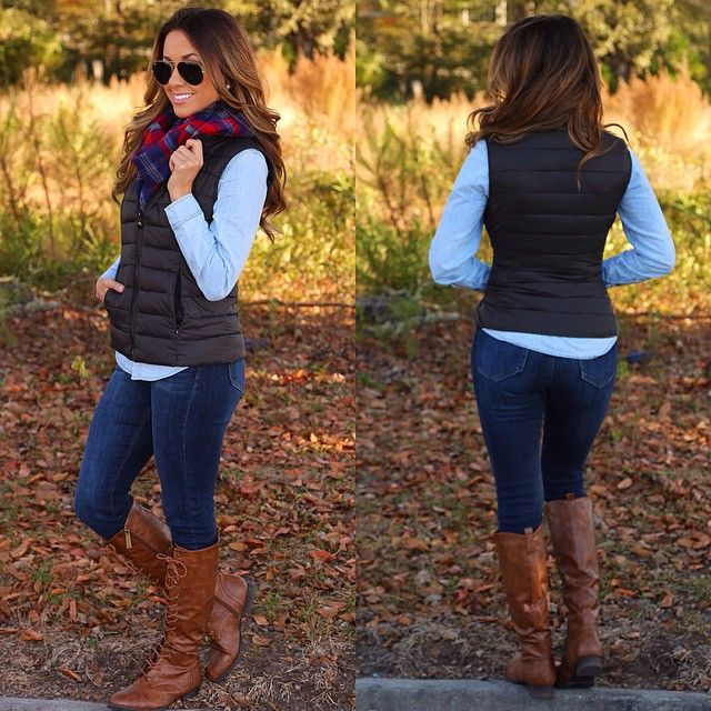 Puffer vests are a fall staple year after year and this one couldn't be any more perfect! Black in color and a striped quilted pattern with pockets! The ideal color to pair with anything and everything! Katheryn is wearing a Small. We're in love. Get the vest for $42.99, the top for $35.99, and the scarf for $26.99. ❤️ #shophopes #freeshipping #newarrivals