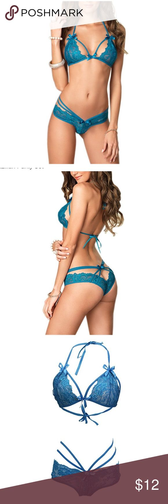 Blue lingerie bra and panty lace set Brand new ordered a medium and it was too big Intimates & Sleepwear