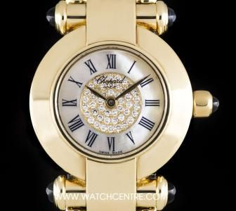 Chopard 18k Yellow Gold Mother Of Pearl & Diamond Set Dial Imperiale Ladies B&P 39/3211-23