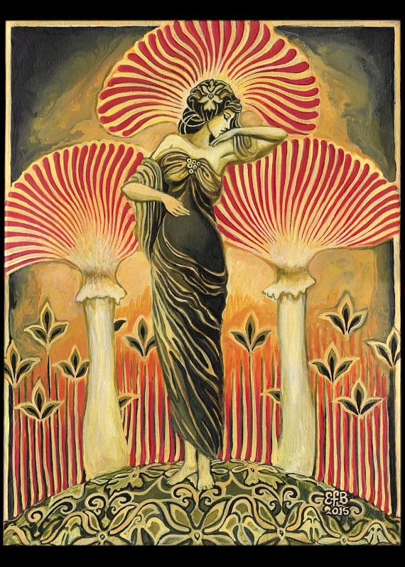 """Soma Goddess"" by Emily Balivet. Soma is an ancient intoxicating drink frequently mentioned in the Hindu Rig Vedas. Prepared from a mysterious plant and used in Vedic ritual, it was believed to be the ambrosia of the gods and granted immortality. It has been suggested that Soma may have been hallucinogenic mushrooms. Soma literally means ""body"" in Sanskrit and unites the holy trinity of mind, body, and spirit."