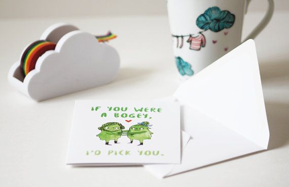 Funny Valentine card. If you were a bogey, I'd pick you! Valentine's Day card by Heidi Burton
