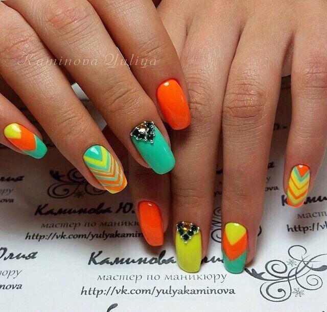 Beautiful summer nails, Bright colorful nails, Nail art stripes, Nails with rhinestones ideas, Neon nails, Square nails, Striped nails, Summer colorful nails