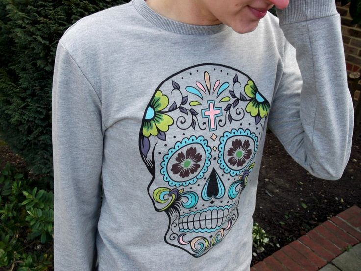primark homme sweater tête de mort mexicaine