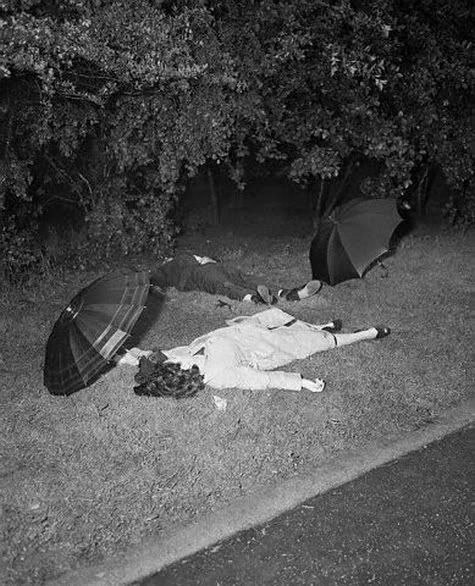 Murder and Suicide in Central Park. Bodies are those of Juanita Rivera and Luis Rizarry. Police suspect the man murdered the woman and then committed suicide. (1952)