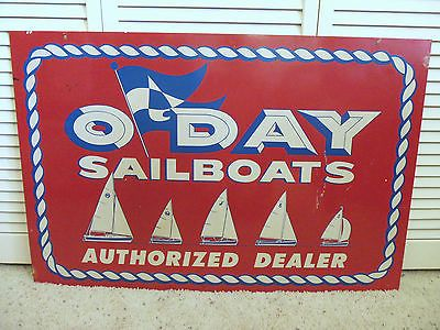Vintage Oday Sailboats Boat Dealer Sign Rare Steel Sailing Nautical Motor Yacht