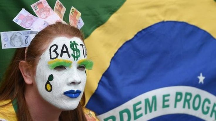 Brazil enters recession, as official figures show the country's economy contracted by 1.9% between April and June, compared with the previous three months.
