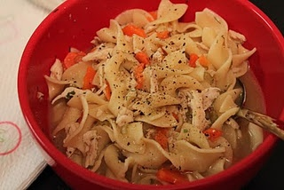 Chicken Noodle Soup in a Crock Pot - could use chicken breast and thigh (boneless/skinless) or pre-cooked whole chicken
