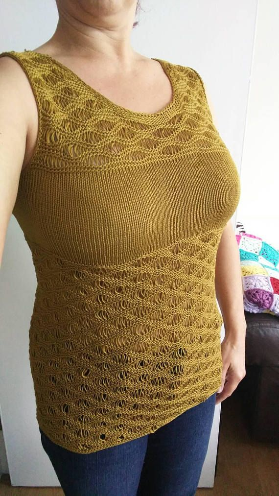 Hey, I found this really awesome Etsy listing at https://www.etsy.com/uk/listing/533771226/knitted-golden-mustardy-lace-summer-tank