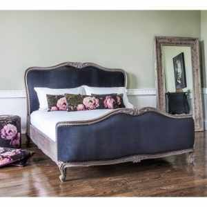 Montmartre Black Velvet Bed   Velvet French Bedroom Furniture