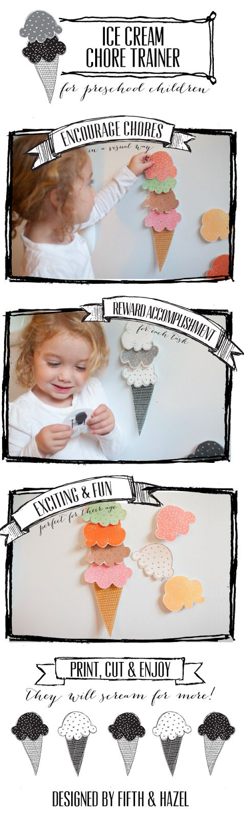 This is a great chore chart from Fifth and Hazel  for kids who are pre-K because it's visually motivating, exciting and easily to notice ac...