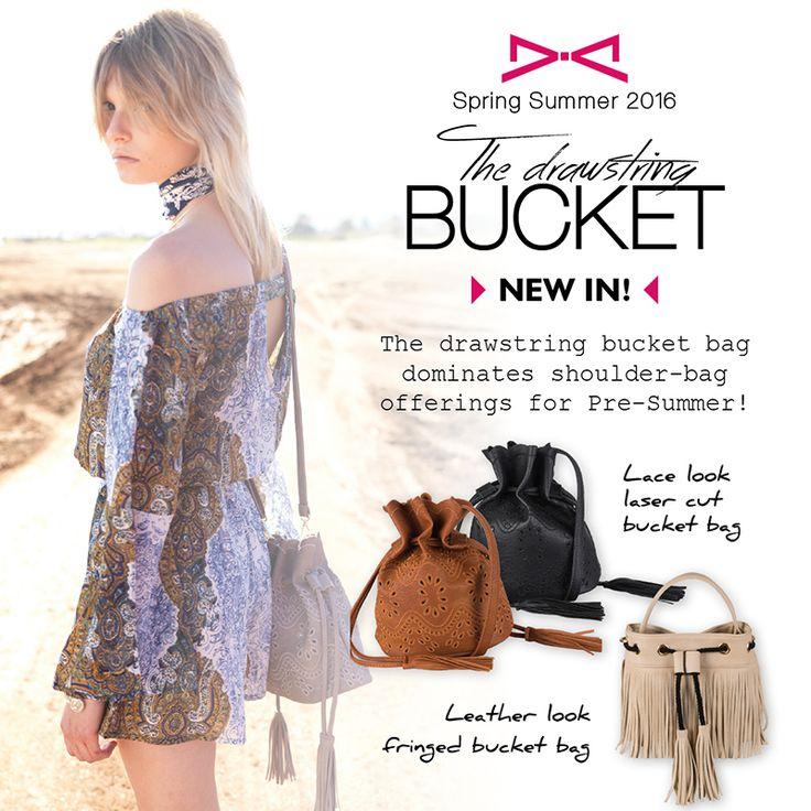 The drawstring bucket bag dominates shoulder-bag offerings for Pre-Summer!