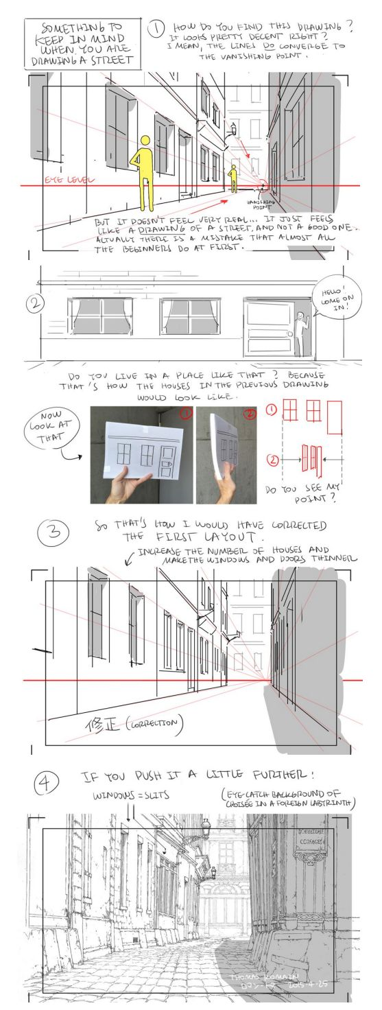 as-warm-as-choco: How to draw a street that looks good (to me at least!) by Thomas Romain (Space Dandy, Code Lyoko, Basquash!, E.P. Kiss Dum, Cannon Busters). Another great tutorial ! #perspective #drawing
