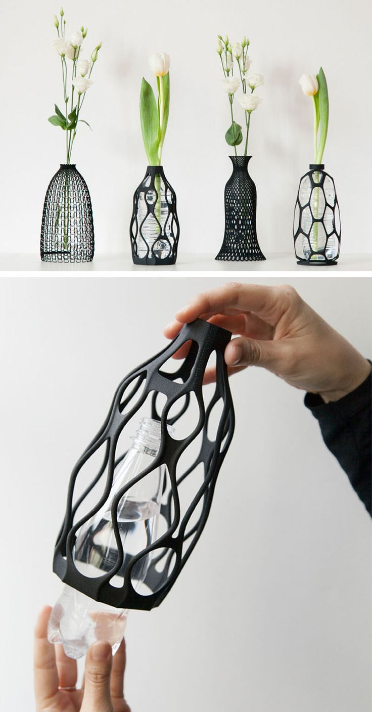 Designer Libero Rutilo of DesignLibero, has created a unique way to give life back to used plastic water bottles. His idea was to create a 3D printed sculptural vase exterior, that can be placed over the top of a water bottle, and can be screwed on like a cap. 물병을 그냥 두면 허전하고 보기에 예쁘지않는데 저런 제품으로 인해 세련되어 보인다