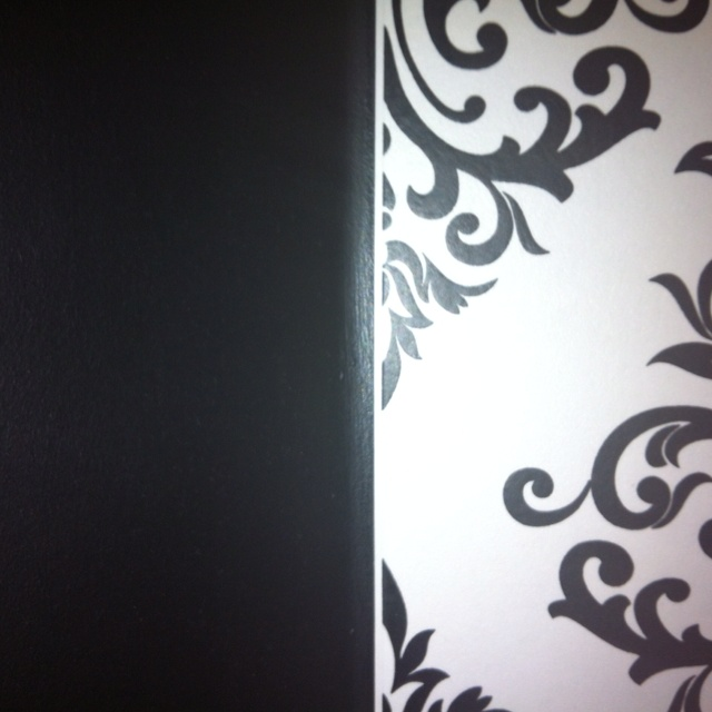 My bathroom: black walls and black and white wallpaper