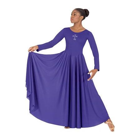 Adult Praise Dance  Dress with Cross Applique.Polyester. Lined Bodice Cut dress as needed to adjust length, no hemming required.  Reg. Price:$49.00 Sale Price: $36.75 Save:$12.25